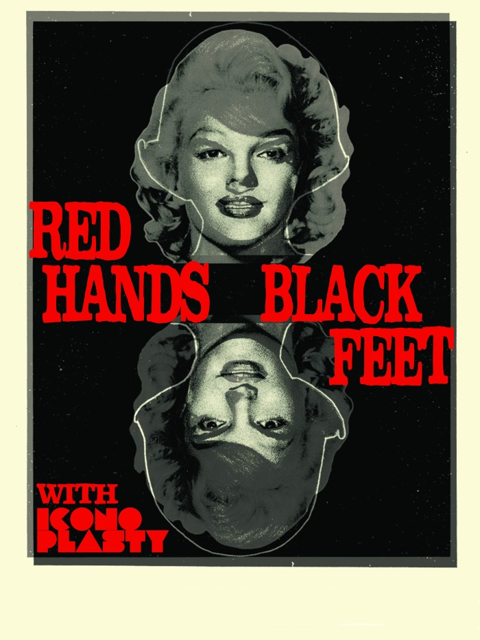 The tour poster for the Words and Music Tour with Iconoplasty and Red Hands Black Feet.
